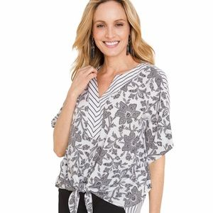 Chico's Mixed Print Striped Tie Front Top